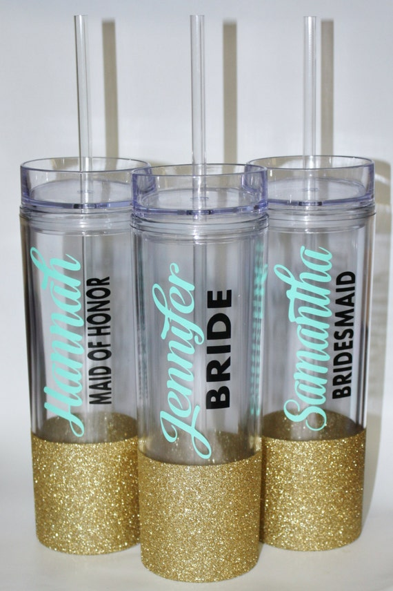 Glitter Dipped Wedding Tumbler/ Bride/ Maid of Honor/ Matron of Honor/ Bridesmaid/ Bridal Party/ Bachelorette Party/ Wedding Favor/Gift Idea
