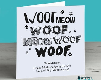Mothers Day Card From The Cat and Dog - Cat and Dog Mummy - Fur Babies