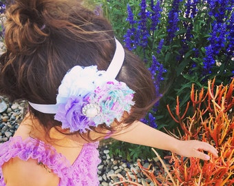 Lavandar flower, white flower, baby girl headband, infant headband, purple headband,