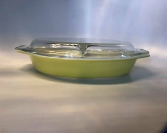 Authentic Vintage Yellow Divided Pyrex Casserole Dish 1.5 Quart #26 With Lid