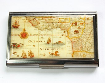 Card case, Business Card Case, Old Map, business card holder, Case, New World Map, Map on card case (2964)
