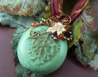 Autumn Leaf Pendant ~ Wire Wrapped Leaf Pendant ~ Polymer Clay Leaf Pendant ~ Fall Leaf Pendant ~ Wire Wrapped Pendant ~ Green Leaf Pendant