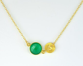 May Birthstone Necklace, Personalized bridesmaid necklace, green onyx necklace, Gifts for mom necklace, baby shower gift, initial necklace
