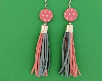 Pink and blue tassel earrings