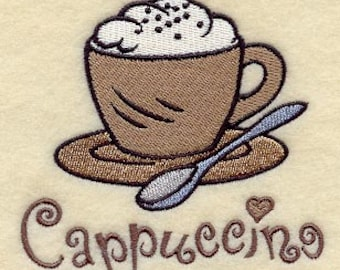 Cappuccino Coffee Cup - Embroidered Flour Sack Hand/Dish Towel