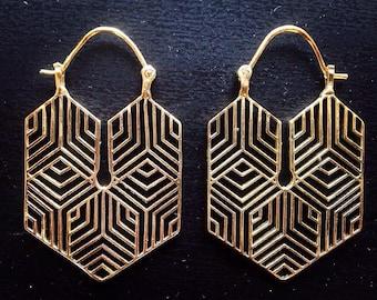 Geometric earrings, Geometric Jewellery, Brass earrings, Brass Jewellery