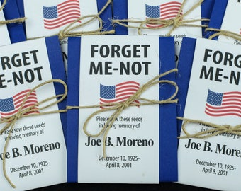 Patriotic Personalized Memorial Forget-Me-Not Seed Packets