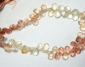 Shaded Sunstone Pear Shape Beads, Sunstone Faceted Pear Shape Gemstone For Jewelry, 6x8 - 7x10mm, 4.5 Inch Half Strand