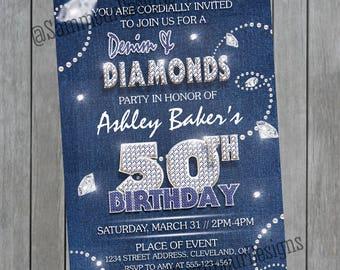 Denim and Diamonds Birthday Invitation - Denim & Diamonds Invitation - Denim and Diamonds Birthday - Denim and Diamonds Party