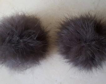 2 PomPoms 4.5/5 cm Brown rabbit fur
