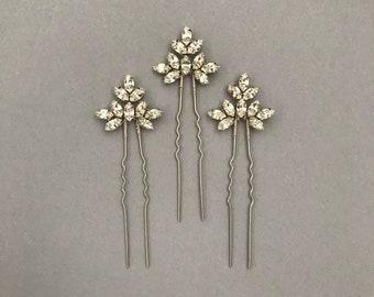 Single Bridal hair pin, bridesmaid hair pin, crystal hair pin, gold hair pin, silver hair pin, bridal hair pins