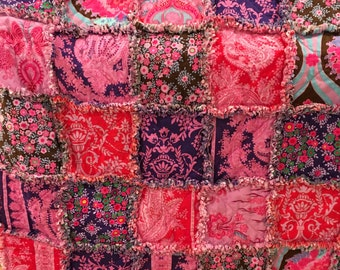 Baby Rag Quilt Ready to Ship Bright Colorful Reversible Quilt 39 x 39 Jennifer Paganelli Crazy Love