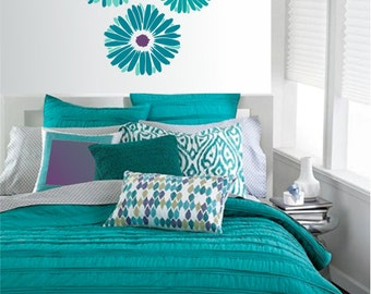 Gerbera Daisies Vinyl Wall Decal with or without Name - Bedroom or Living Room Wall Sticker