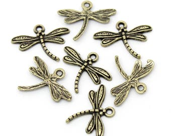 4 bronze Dragonfly charms