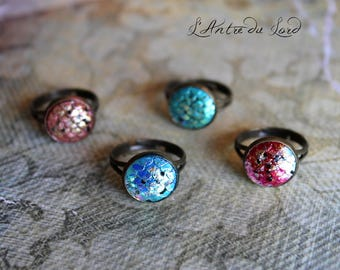 Ring cabochon fancy scales Dragon / Mermaid Magic - 4 colors