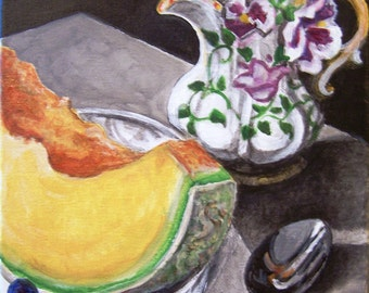 Summer Breakfast, 8x10 still life acrylic painting