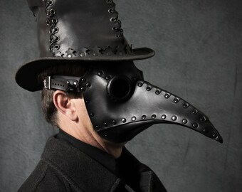"Plague Doctor mask in black leather ""Schnabel"""