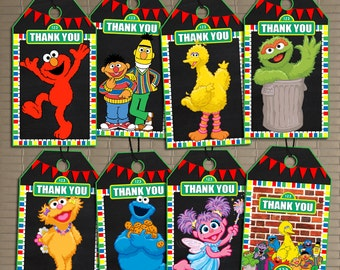 Sesame Street Thank You Labels, Instant Download Thank You Tags, Sesame Street Birthday, Sesame Street Birthday Thank You Tags