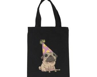 01 Tote Bag-Black ( Pug Design)