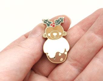 Christmas Pudding Bear Enamel Pin. Lapel Badge. Kawaii cute animal.