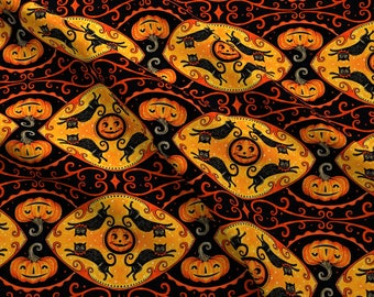 Vintage Halloween Fabric - Jumping Cat By Johannaparkerdesign - Halloween Retro Pumpkin Kitsch Cotton Fabric By The Yard With Spoonflower