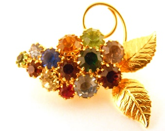Vintage Ornate Rhinestone Brooch - Grape Cluster - Multi Colored Stones - Grapes Pin - Estate Jewelry - Costume Brooch - Sparkly Scatter Pin