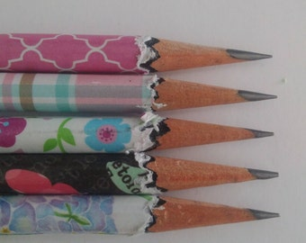 Hand wrapped pencils/ girly set/ floral pattern/ Graphite pencil/ school supplies/ office supplies/ HB 2/ office supplies/ Gift set