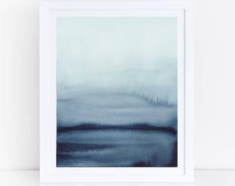Indigo Print, Printable Abstract Art, Modern Abstract Watercolor Print, Indigo Wall Art, Modern Watercolor Art, Blue Watercolor Print