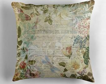 Shabby Chic Pillow, Botanical Pillow, Floral Decor, Vintage Decor, Dragonfly Pillow, Flower Cushion, Shabby Chic Decor