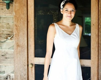 CUSTOM Wedding Gown, Vintage Gown in Cotton and Linen, Remodeled Vintage Bridal Dress