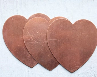 2 Large Vintage 1950's Copper Heart Stampings // NOS Jewelry Supply