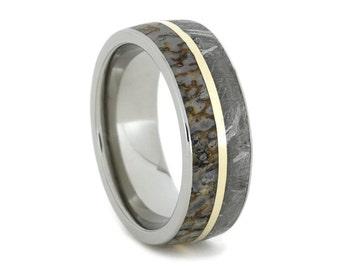 Meteorite Ring, Dinosaur Bone Wedding Band With 14K Yellow Gold Pinstripe, Titanium Ring