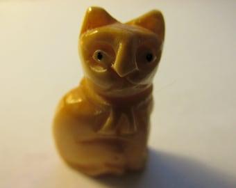 "Carved Bone Bead of Neko Kitty Cat, 1"""