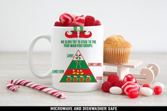 Coffee Mug Elf Four Main Food Groups Christmas Coffee Mug - Funny Holiday Mug