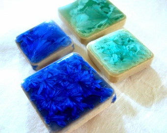 Mosaic Tile Magnets - Caribbean Seas - Aqua and Blue Magnet Set - Kitchen Housewarming Gift