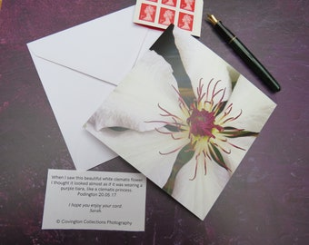 White Clematis 'Purple Crown' Greeting Card Left Blank for Personal Message