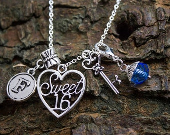 Personalized 16th Birthday Necklace With Message Card Sterling Silver Key, Initial, Birthstone, Personalised. Perfect birthday gift