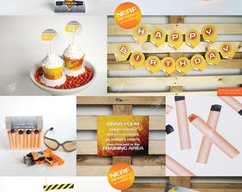 Nerf Party - Printable Decorations - PERSONALIZED SET