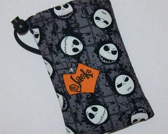 """Pipe Pouch, Jack Skellington, Pipe Bag, Pipe Case, Nightmare Before Christmas, Padded Pipe Pouch, Goth, 420, Smoke Accessory - 5"""" DRAWSTRING"""