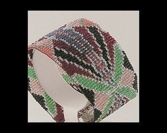 2 Loom or Odd Drop Peyote Bead Patterns for the Price of 1 - Art Nouveau Cuff Bracelets in 2 Color Combinations, Mint and Emerald