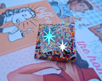 Colorful 1950's Inspired Atomic Brooch