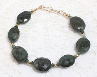 Natural Emerald Bracelet, May Birthstone, Raw Emerald, Green and Gold, Gold Filled, Emerald Gemstone, May Birthday Gift for Her