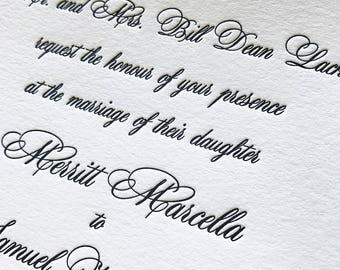 Miss Morgan Letterpress Wedding Invitation, Elegant Wedding Invitation Set, Letterpress Wedding Invites, Wedding Invitation Suite, Sample