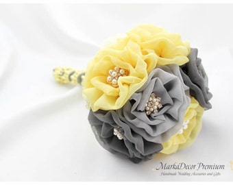 READY TO SHIP Medium  Wedding Brooch Bouquet Lace Bridal Bridsmaids Custom Bouquet with Jewels, Brooches in Maize Yellow Grey Silver Pewter