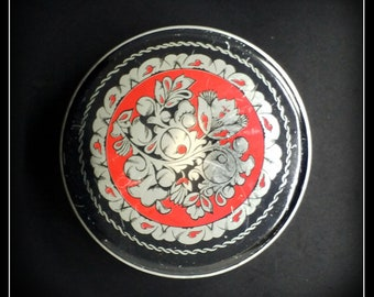 Vintage Soviet Russian round red and black tin box