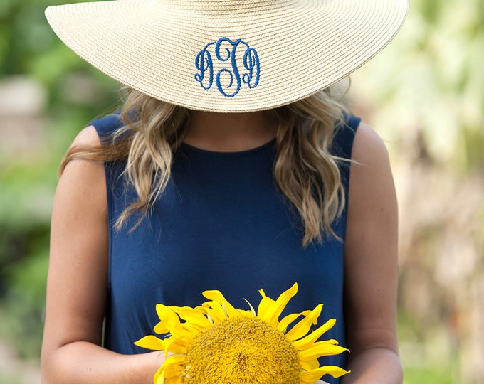 Monogrammed Ladies Floppy Beach Hat