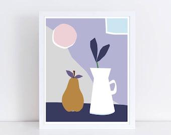 Affiche scandinave, nature morte, poire, minimaliste, botanique, affiche cuisine, plantes, fruit, collage, mid century