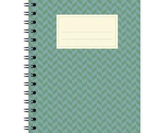 Notebook A6 - Green-Blue Chevron Pattern