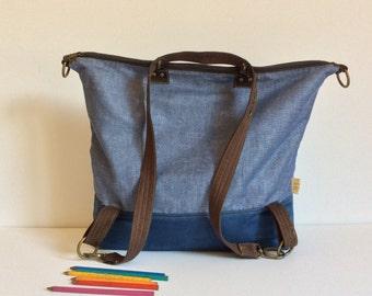 Canvas Backpack / Canvas Backpack /  Travel Backpack  / vegan convertible laptop bag / canvas diaper bag travel backpack