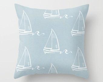 Blue Pillow cover Beachy Pillow Cover Decorative Pillow Cover Sailboat Pillow Ocean Pillow Sailing Pillow Lakehouse Pillow